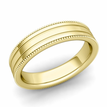 Milgrain and Groove Wedding Ring in 18k Gold Comfort Fit Band, Polished Finish, 5mm