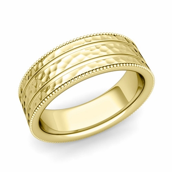 Milgrain and Groove Wedding Ring in 18k Gold Comfort Fit Band, Hammered Finish, 7mm