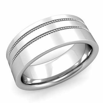 Double Milgrain Wedding Ring in Platinum Comfort Fit Band, Polished Finish, 8mm
