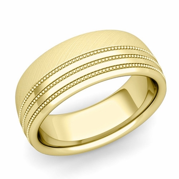 Milgrain Dome Wedding Ring in 18k Gold Comfort Fit Band, Mixed Brushed Finish, 8mm