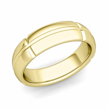 Brick Comfort Fit Wedding Band Ring in 18k Gold, Polished Finish, 6mm