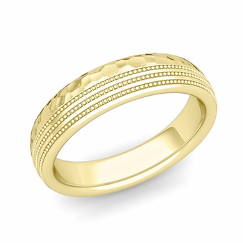 Milgrain Dome Wedding Ring in 18k Gold Comfort Fit Band, Hammered Finish, 5mm