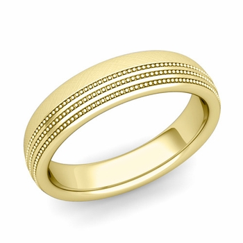 Milgrain Dome Wedding Ring in 18k Gold Comfort Fit Band, Mixed Brushed Finish, 5mm