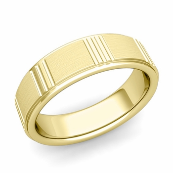 Geometric Wedding Band in 18k Gold Mixed Brushed Finish Ring, 6mm