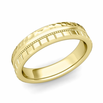 Milgrain and Brick Wedding Ring in 18k Gold Comfort Fit Band, Hammered Finish, 5mm