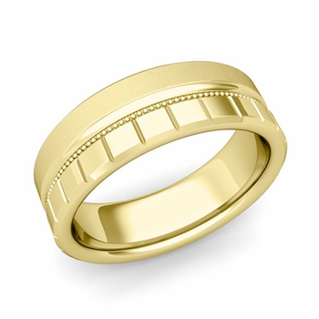 Milgrain and Brick Wedding Ring in 18k Gold Comfort Fit Band, Satin Finish, 7mm