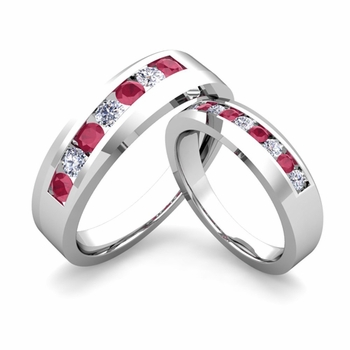 His and Hers Matching Wedding Band in Platinum Channel Set Diamond and Ruby Ring