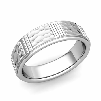 Geometric Wedding Band in Platinum Hammered Finish Ring, 6mm