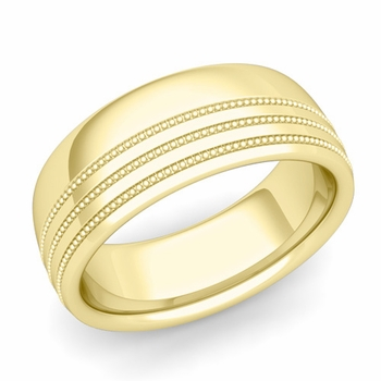 Milgrain Dome Wedding Ring in 18k Gold Comfort Fit Band, Polished Finish, 8mm