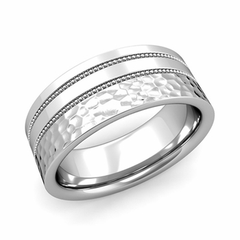 Double Milgrain Wedding Ring in Platinum Comfort Fit Band, Hammered Finish, 8mm