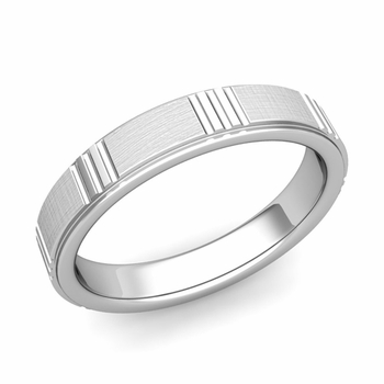 Geometric Wedding Band in 14k Gold Mixed Brushed Finish Ring, 4mm