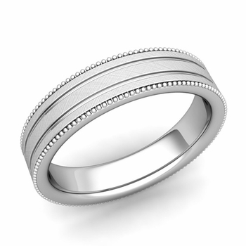 Milgrain and Groove Wedding Ring in Platinum Comfort Fit Band, Mixed Brushed Finish, 5mm