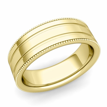 Milgrain and Groove Wedding Ring in 18k Gold Comfort Fit Band, Polished Finish, 7mm