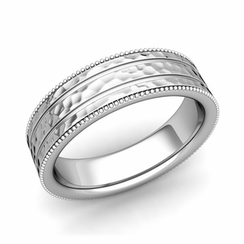 Milgrain and Groove Wedding Ring in Platinum Comfort Fit Band, Hammered Finish, 6mm