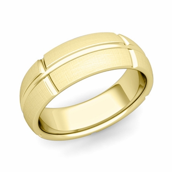 Brick Comfort Fit Wedding Band Ring in 18k Gold, Mixed Brushed Finish, 7mm