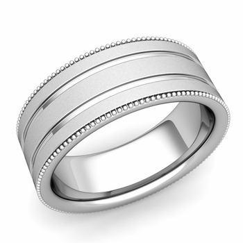 Milgrain and Groove Wedding Ring in Platinum Comfort Fit Band, Satin Finish, 8mm