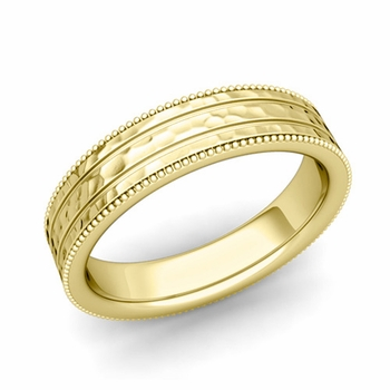 Milgrain and Groove Wedding Ring in 18k Gold Comfort Fit Band, Hammered Finish, 5mm