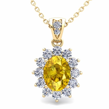 Diamond and Yellow Sapphire Necklace in 18k Gold Halo Pendant 8x6mm