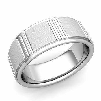 Geometric Wedding Band in 14k Gold Mixed Brushed Finish Ring, 8mm