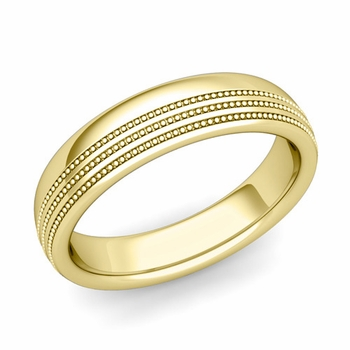Milgrain Dome Wedding Ring in 18k Gold Comfort Fit Band, Polished Finish, 5mm
