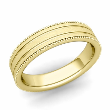 Milgrain and Groove Wedding Ring in 18k Gold Comfort Fit Band, Mixed Brushed Finish, 5mm