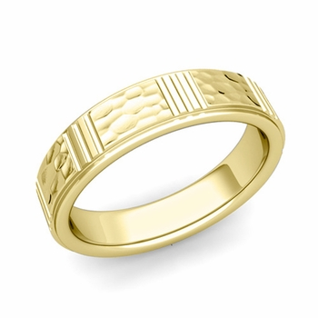 Geometric Wedding Band in 18k Gold Hammered Finish Ring, 5mm