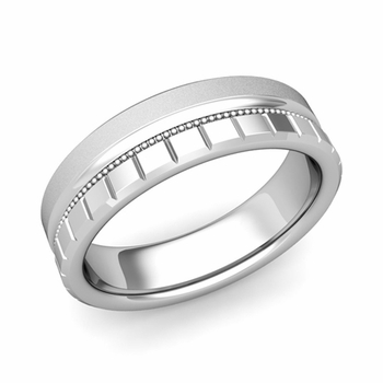 Milgrain and Brick Wedding Ring in 14k Gold Comfort Fit Band, Satin Finish, 6mm