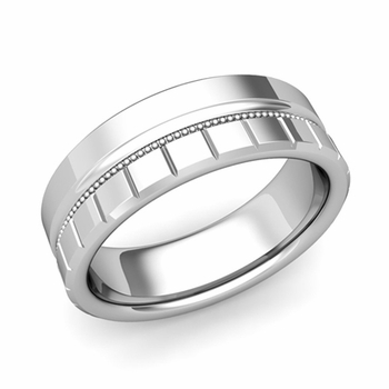 Milgrain and Brick Wedding Ring in Platinum Comfort Fit Band, Polished Finish, 7mm