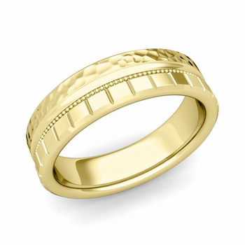 Milgrain and Brick Wedding Ring in 18k Gold Comfort Fit Band, Hammered Finish, 6mm