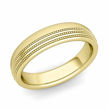 Milgrain Dome Wedding Ring in 18k Gold Comfort Fit Band, Satin Finish, 5mm