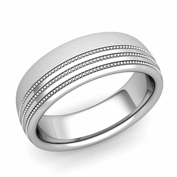 Milgrain Dome Wedding Ring in Platinum Comfort Fit Band, Mixed Brushed Finish, 7mm