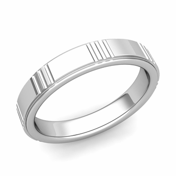 Geometric Wedding Band in 14k Gold Polished Finish Ring, 4mm