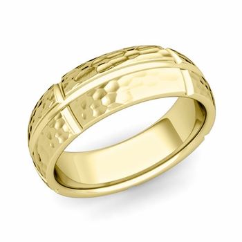 Brick Comfort Fit Wedding Band Ring in 18k Gold, Hammered Finish, 7mm