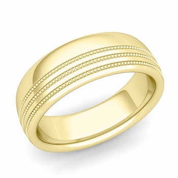 Milgrain Dome Wedding Ring in 18k Gold Comfort Fit Band, Polished Finish, 7mm