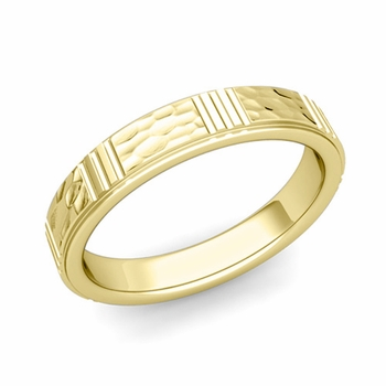 Geometric Wedding Band in 18k Gold Hammered Finish Ring, 4mm