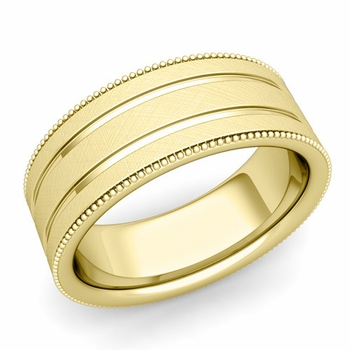 Milgrain and Groove Wedding Ring in 18k Gold Comfort Fit Band, Mixed Brushed Finish, 8mm