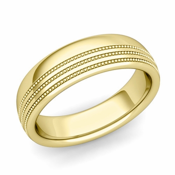 Milgrain Dome Wedding Ring in 18k Gold Comfort Fit Band, Polished Finish, 6mm