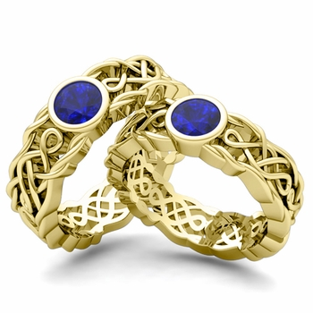 Matching Wedding Band in 18k Gold Solitaire Sapphire Ring