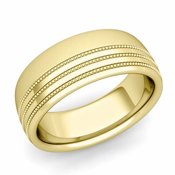 Milgrain Dome Wedding Ring in 18k Gold Comfort Fit Band, Satin Finish, 8mm