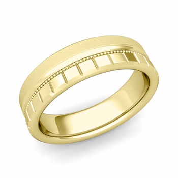 Milgrain and Brick Wedding Ring in 18k Gold Comfort Fit Band, Mixed Brushed Finish, 6mm