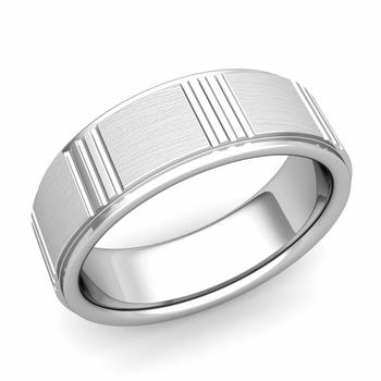 Geometric Wedding Band in 14k Gold Mixed Brushed Finish Ring, 7mm