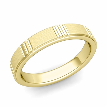 Geometric Wedding Band in 18k Gold Mixed Brushed Finish Ring, 4mm