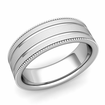 Milgrain and Groove Wedding Ring in Platinum Comfort Fit Band, Satin Finish, 7mm