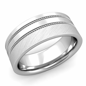 Double Milgrain Wedding Ring in Platinum Comfort Fit Band, Mixed Brushed Finish, 8mm