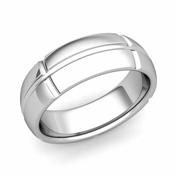 Brick Comfort Fit Wedding Band Ring in Platinum, Polished Finish, 7mm