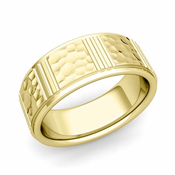 Geometric Wedding Band in 18k Gold Hammered Finish Ring, 8mm