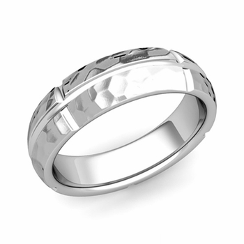 Brick Comfort Fit Wedding Band Ring in Platinum, Hammered Finish, 6mm