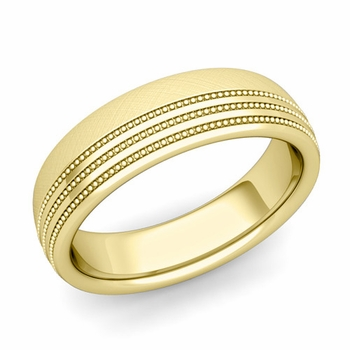 Milgrain Dome Wedding Ring in 18k Gold Comfort Fit Band, Mixed Brushed Finish, 6mm