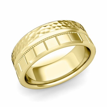 Milgrain and Brick Wedding Ring in 18k Gold Comfort Fit Band, Hammered Finish, 8mm