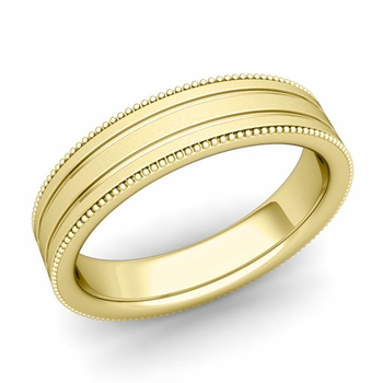 Milgrain and Groove Wedding Ring in 18k Gold Comfort Fit Band, Satin Finish, 5mm